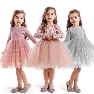 2020 Autumn Winter Long Sleeve Girls Dress Princess Flower Ball Gown Party Baby Clothing Kids Dresses for Girls Robe Bebes Fille(China)