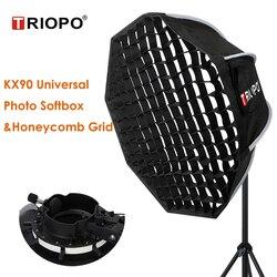 Triopo 90cm Universal Outdoor Umbrella Octagon Softbox w Honeycomb Grid Speedlite Photo Soft Box for Godox V1 AD200 Yongnuo 560