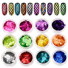 12 pots/kit 3d holographic rounded rectangle sequins striped