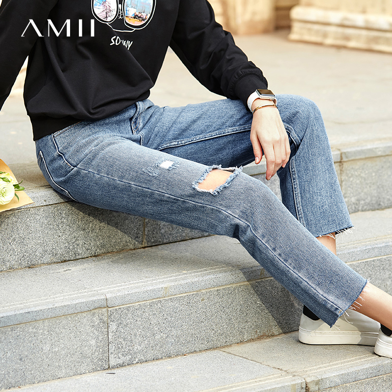 Amii Minimalist Hole Jeans Autumn Women High Waist Pockets Cotton Female Denim Pants 11940076