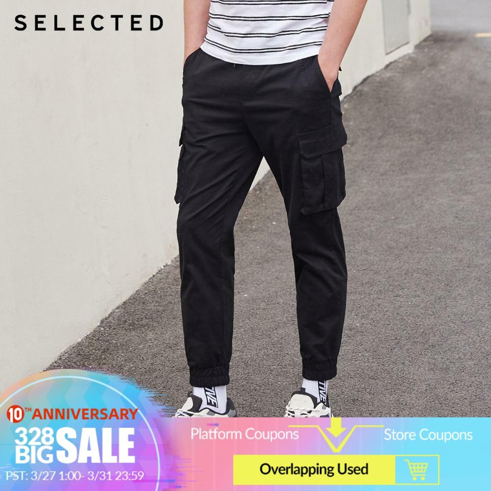 SELECTED Men Stretch Multiple Pockets Embroidered Ankle-banded Cargo Pants S|419414563