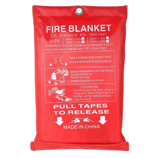 Z40 Dropshipping 1M x 1M Sealed Fire Blanket Home Safety Fighting Fire Extinguishers Tent Boat Emergency Survival Safety Cover 2