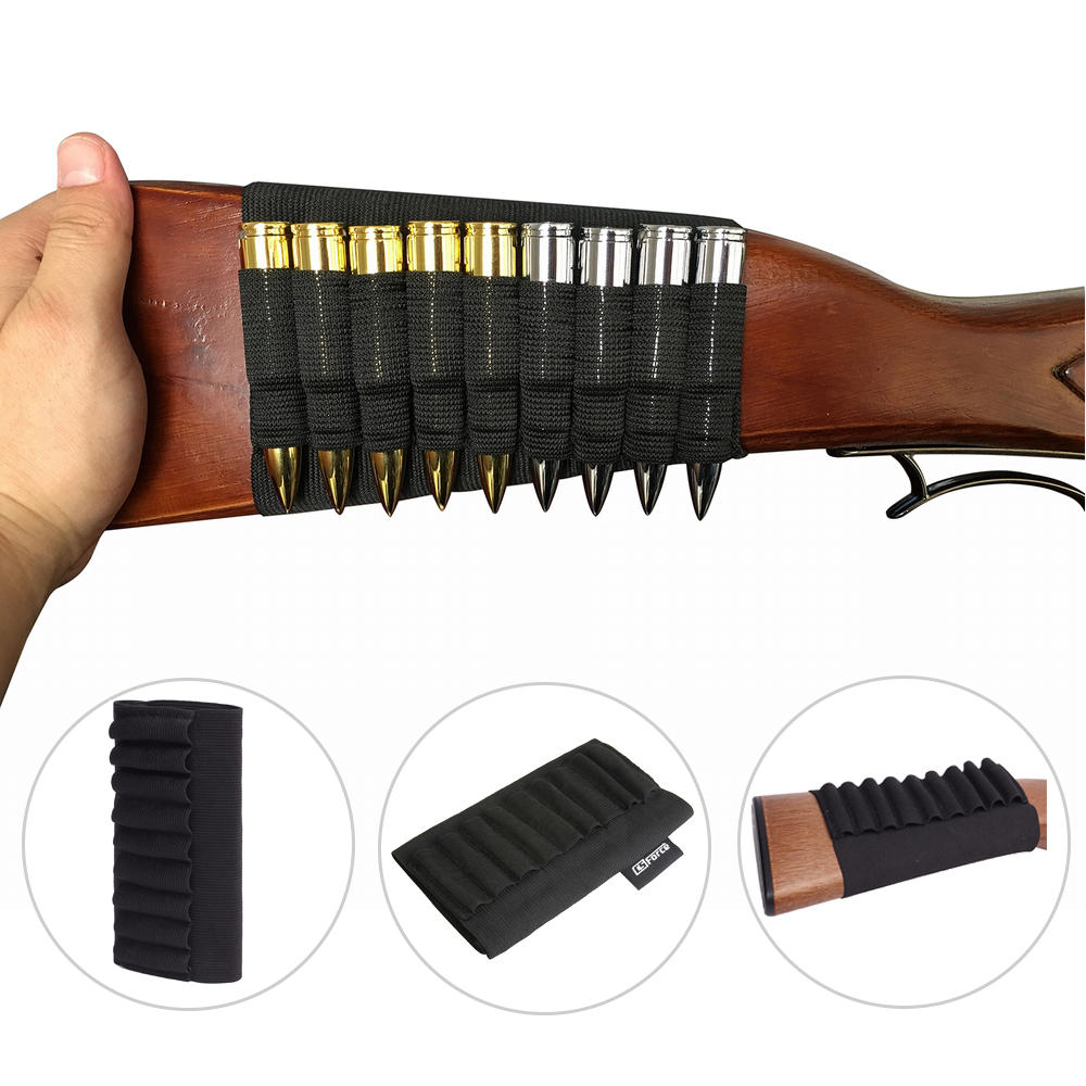 9 Rounds Shells Holder Cartridges Ammo Carrier Bullet Pouch For MP 512-36 Elastic Butt Stock Hunting Rifle Accessories