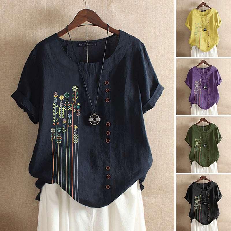 2020 ZANZEA Women's Embroidery Blouse Elegant Summer Tops Floral Patchwork Blusas Female Short Sleeve Shirts Plus Size Tunic