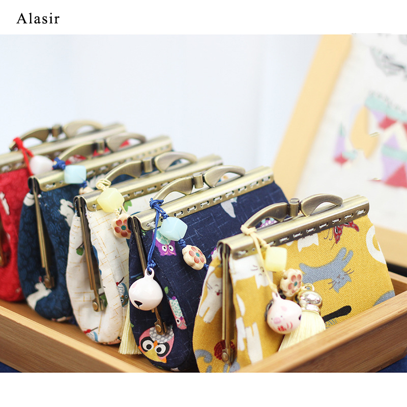 Alasir New Gold Bag Handmade Fabric Coin Purse Tassel Simple Joker Coin Bag Cartoon Storage Buckle Bag