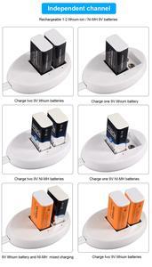 Image 4 - פאלו 9V סוללה מטען עבור 9V 6F22 ליתיום יון Ni Mh Ni Cd סוללה האיחוד האירופי Plug 9V USB מטען