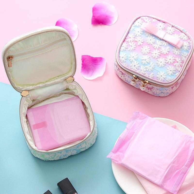 Cosmetic-Bag Embroidery Sanitary-Napkin Zipper Travel Ladies Women's Cotton