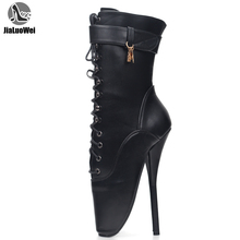 jialuowei Fetish Ballet Boots Women High Heel Spike Black PU Cross Tied Lace Up Mid-Calf Spring and Autumn Boots Plus Size 36-46