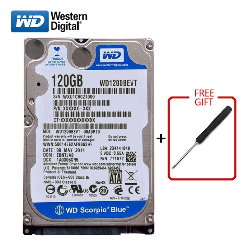 "WD Blue Brand 120Gb 2.5"" SATA Internal Hard Drive 120G HD Hard Drive 1.5-3gb/s 5400-7200RPM hard disk for Laptop Free shipping"