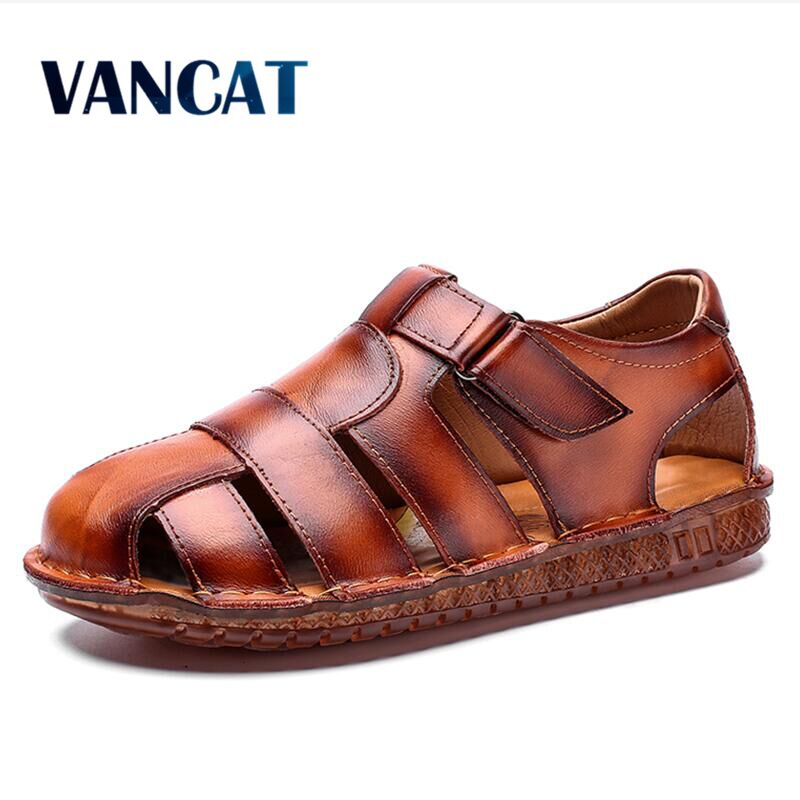 2020 Summer High Quality Genuine Leather Men Sandals Breathable Outdoor Beach Men Roman Sandals Casual Men's shoes Size 38-48