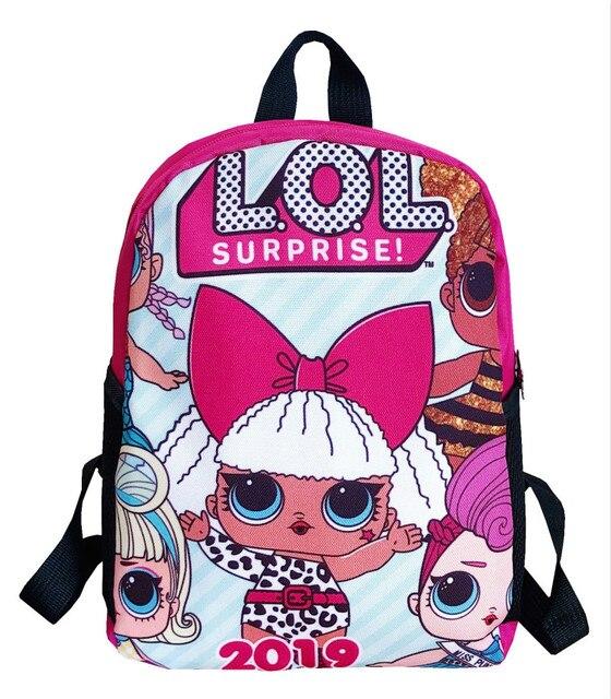 Lol sürpriz lol bebek erkek ve kız öğrencilerin karikatür schoolbag okul çocuğu sırt çantası boşaltma schoolbag keten sırt çantası
