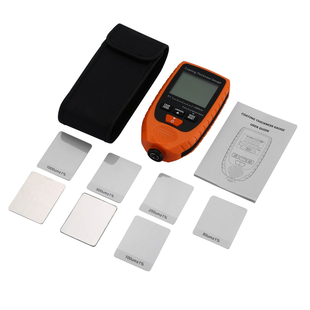 Digital Coating Thickness Gauge Car Paint Thickness Meter Tester Metal Width Measuring Instrument 0~1500um/0~59.1mil
