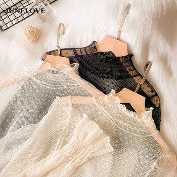 JuneLove New Transparent Korean Fashion Loose Women Blouse 22 Colors Can Choose Female Bottoming Blouses Plus Size Cheaper Tops 1