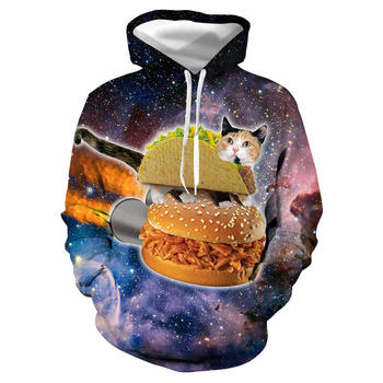 Starry Sky 3D Digital Womens Hoodies Cat Printed Long Sleeve Couples Sweatshirt Hooded Pullover Womens Tops Casual Apparel round neck long sleeve 3d starry sky and tiger print sweatshirt
