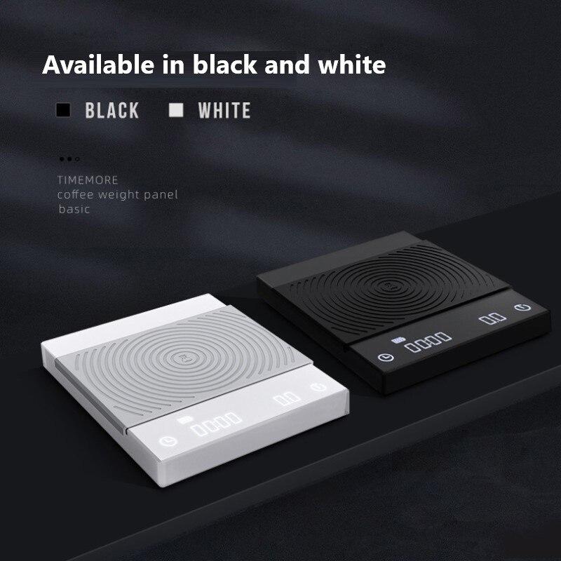 Цифровые Смарт-весы TIMEMORE для кофе, черные/белые электронные весы для капельного кофе с таймером, кухонные весы для взвешивания