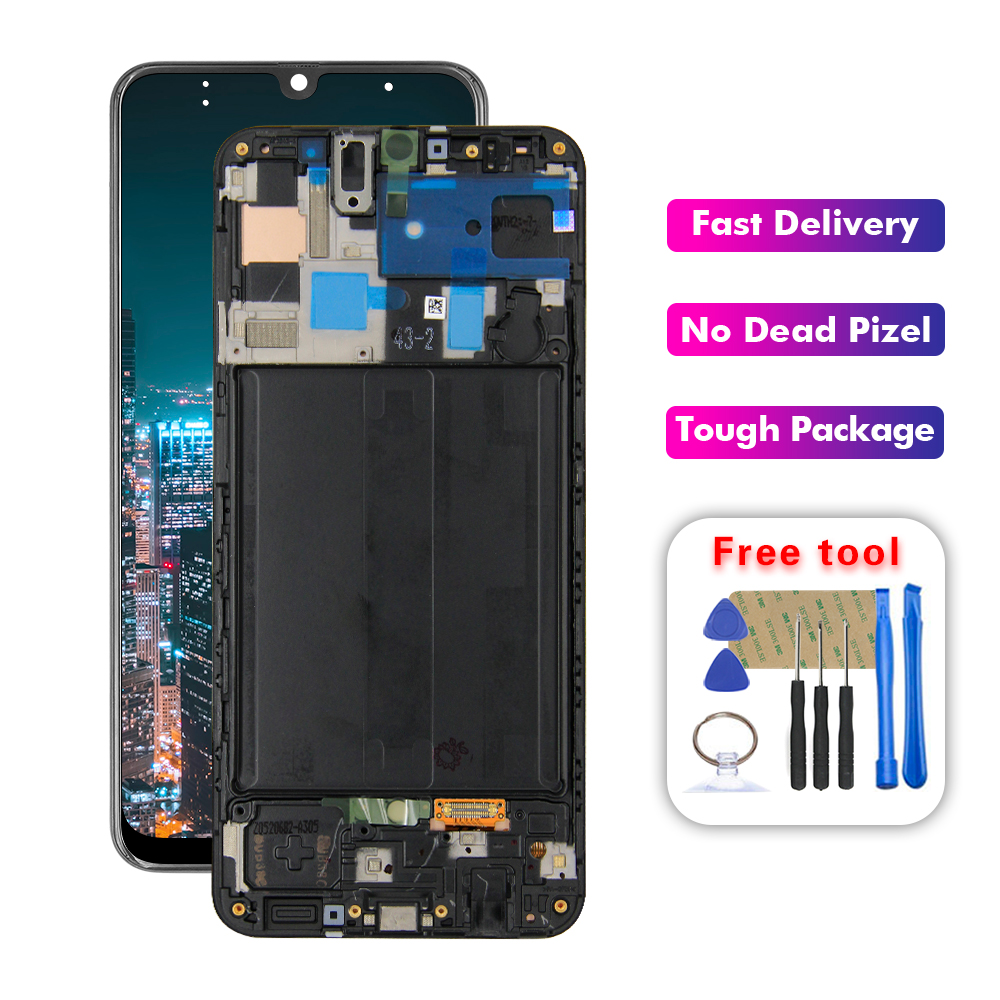 For Samsung Galaxy A50 A505 Lcd A505DS A505F A505FD A505A Lcd Display Touch Screen Digitizer Assembly With Frame