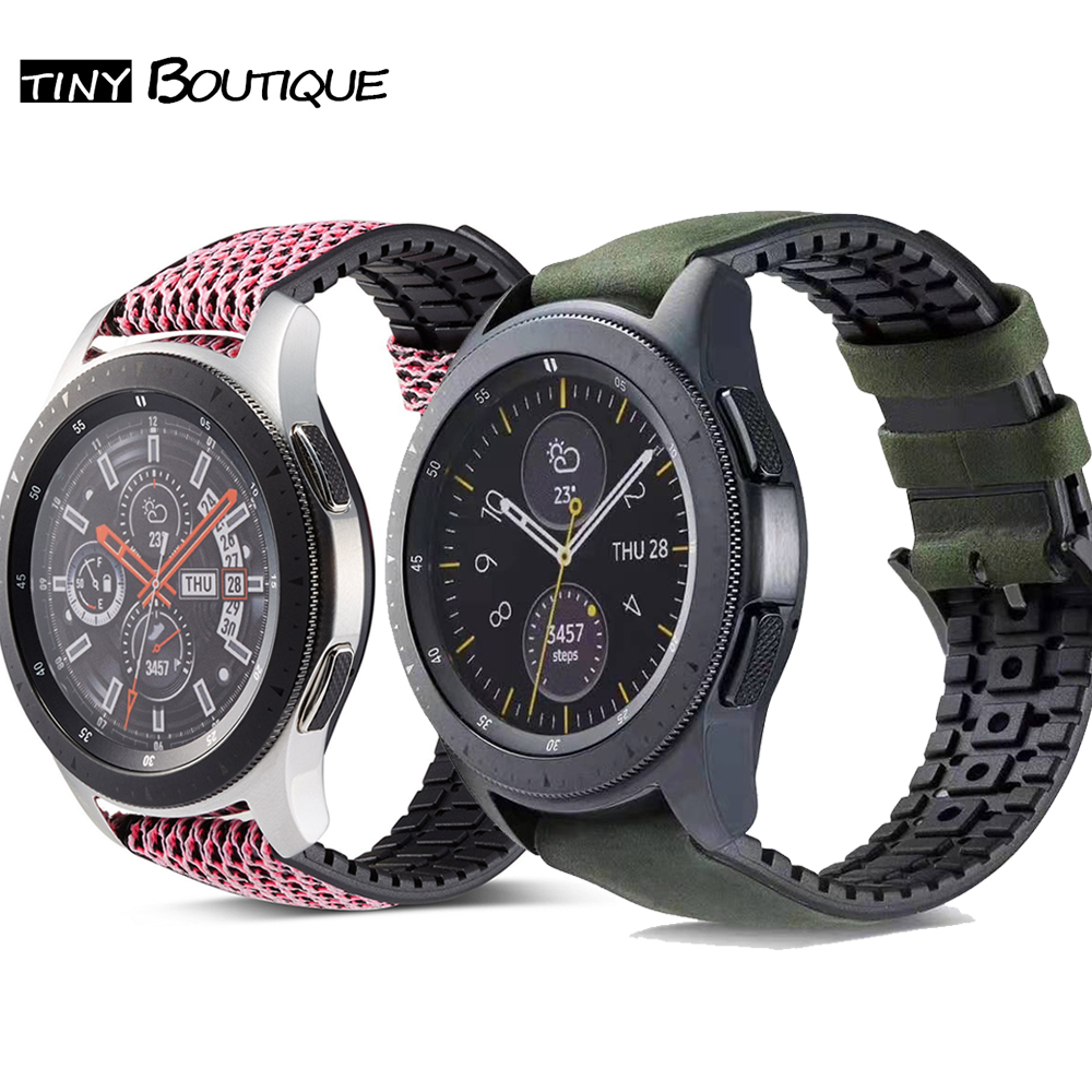Silicone Leather Watch Strap Samsung Galaxy Watch 42mm 46mm Band Gear S2 S3 Classic Frontier Active 1 2 Huawei Watch GT Strap