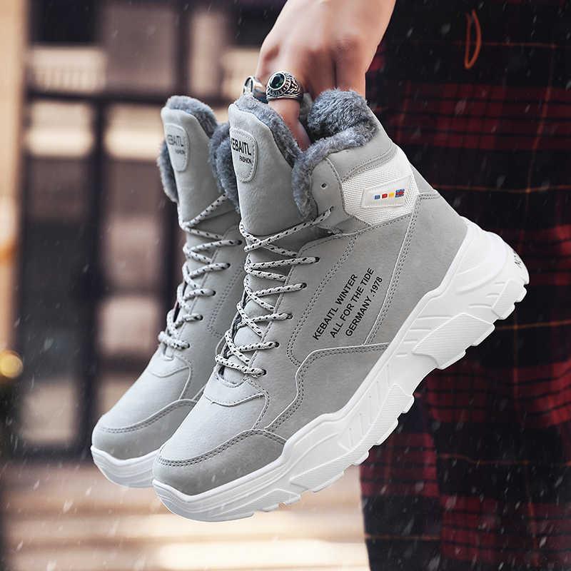 Mannen Winter Warm Pluche Sportschoenen Hoge Top Enkel Running Laarzen Mannelijke Hip Hop Ademend Professionele training soft Sneakers
