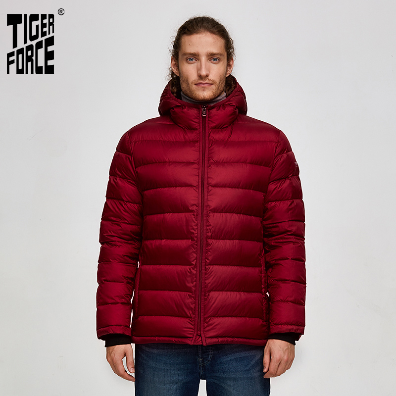 Tiger Force Men Winter Jackets Puffy Jackets Men's Parka Winter Coats With Hoodie Warm Sport Snow Hooded Jacket Outerwear