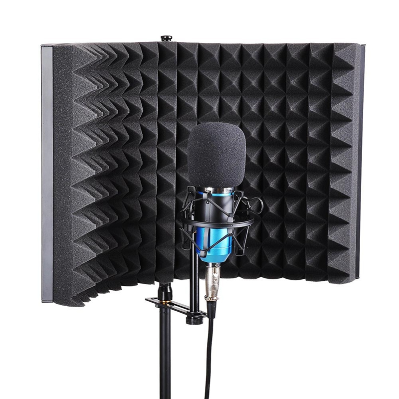Hot-Microphone Isolation Shield, Studio Mic Sound Absorbing Foam Reflector For Any Condenser Microphone Recording Equipment Stud