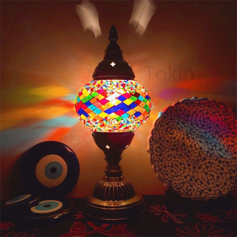 New Style Turkish Mosaic Table Lamp Vintage Art Deco Handcrafted Lamparas De Mesa Glass Romantic Bed Light Lamparas Con Mosaicos
