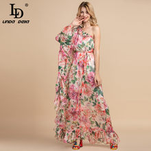 Ld Linda Della Summer Holiday Party Boho Maxi Jurk Vrouwen Off Shoulder Chiffon Bloemenprint Ruches Losse Elegante Lange jurk(China)