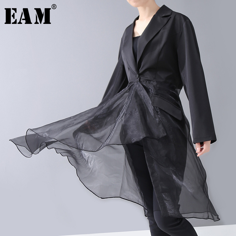 [EAM] Women Black Asymmetrical Mesh Perspective Blouse New Notched Long Sleeve Loose Fit Shirt Fashion Spring Autumn 2020 1R309