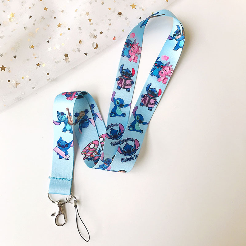 Cartoon Lilo Stitch Lanyard Cute Mobile Phone Student ID Card Rope Neck Straps Keys Camera Necklace Pendant Gift For Kids Women