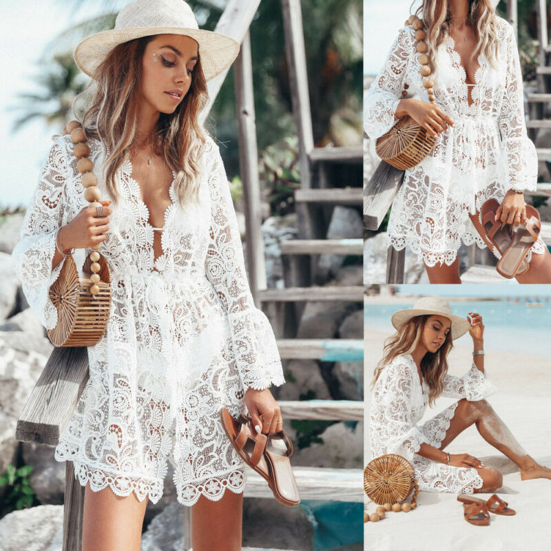 2019 Autumn Lace Crochet Women Beach Dress Bikini Cover Up Swimwear Floral White Black Bathing Suit Tunic Beach Dress