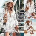 2019 outono rendas crochê mulher praia vestido de biquíni cobrir banho floral branco preto terno túnica praia vestido