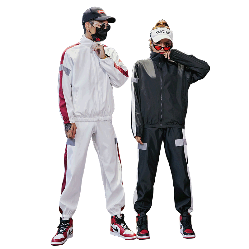 2 Pieces Tracksuit Zipper Jacket+Pant Set Fashion Highstreet  Men Women Set 2019 Men Suit Men's Tracksuit Hiphop Sweatsuit