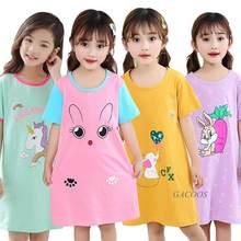 Camisola infantil, camisola de algodão 100% para meninas roupas de dormir para crianças