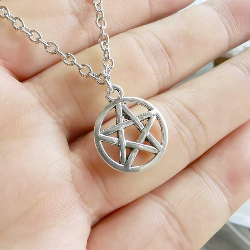 1 pièces Wicca Pagan sorcière pentagramme pendentif colliers tibétain argent rétro charmes mode bijoux cadeau nouveau chaud