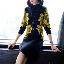 Floral Women Winter Turtleneck Sweater Dress Female Elegant High Quality Knitting Dress Knee Length Vintage Dress Female