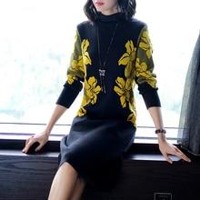 Vestido feminino vintage de gola alta, floral, para o inverno, elegante, de malha, de alta qualidade