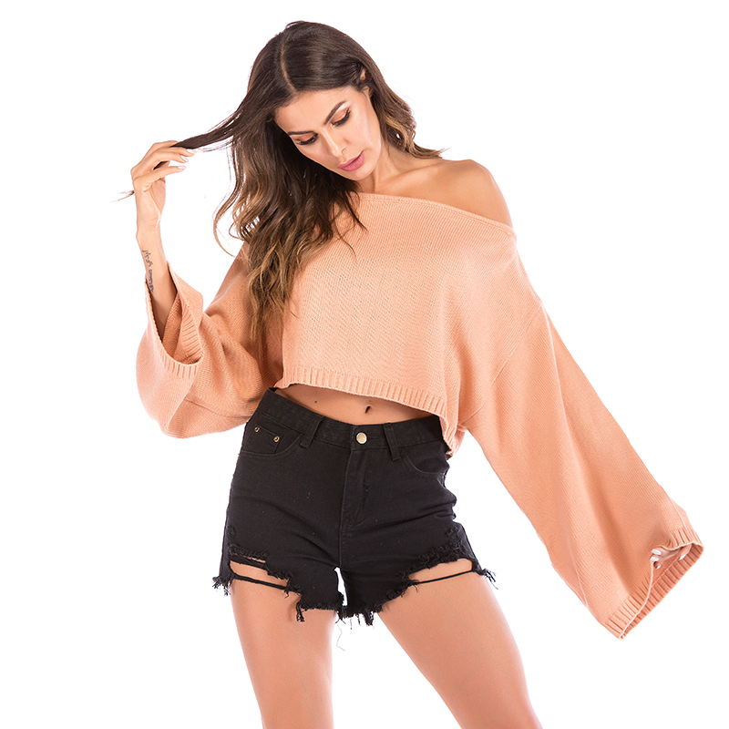 Fashion Women'S Sexy O-Neck Pullover Casual Long-Sleeved Autumn And Winter Women'S Off-The-Shoulder Short Sweater 5821