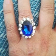 Женское Обручальное кольцо, обручальное кольцо с синим кристаллом и фианитом