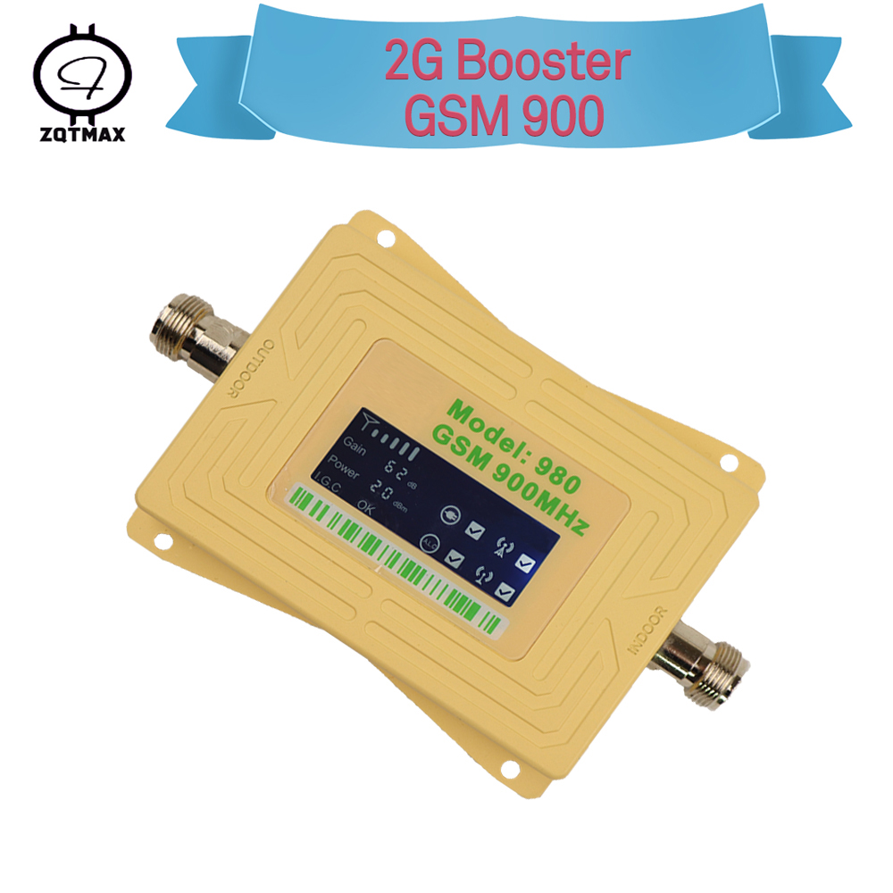 ZQTMAX Gsm Repeater 2g Cell Phone Signal Booster 900 MHz 62dB Cellular Amplifier Mobile Internet Mini LCD Display