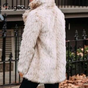 Image 3 - Leopard Luxus Faux Pelzmantel Jacke 2019 Winter Warm Langen Fell Flauschigen Teddy Jacke Mode Streetwear Shaggy Mantel Oberbekleidung