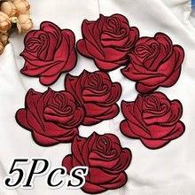5 pçs novas rosas decalques ferro pano remendo decoração flores acessórios de vestuário