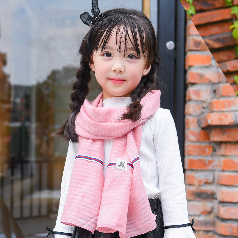 Autumn And Winter Korean-style Cotton Linen CHILDREN'S Scarf Versatile Thin Baby Scarf Spring And Autumn Versitile Fashion Men A