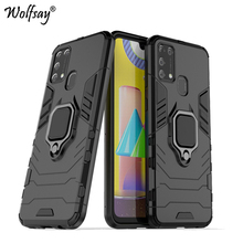 For Samsung Galaxy M21 Case Armor Magnetic Suction Stand Full Edge Cove