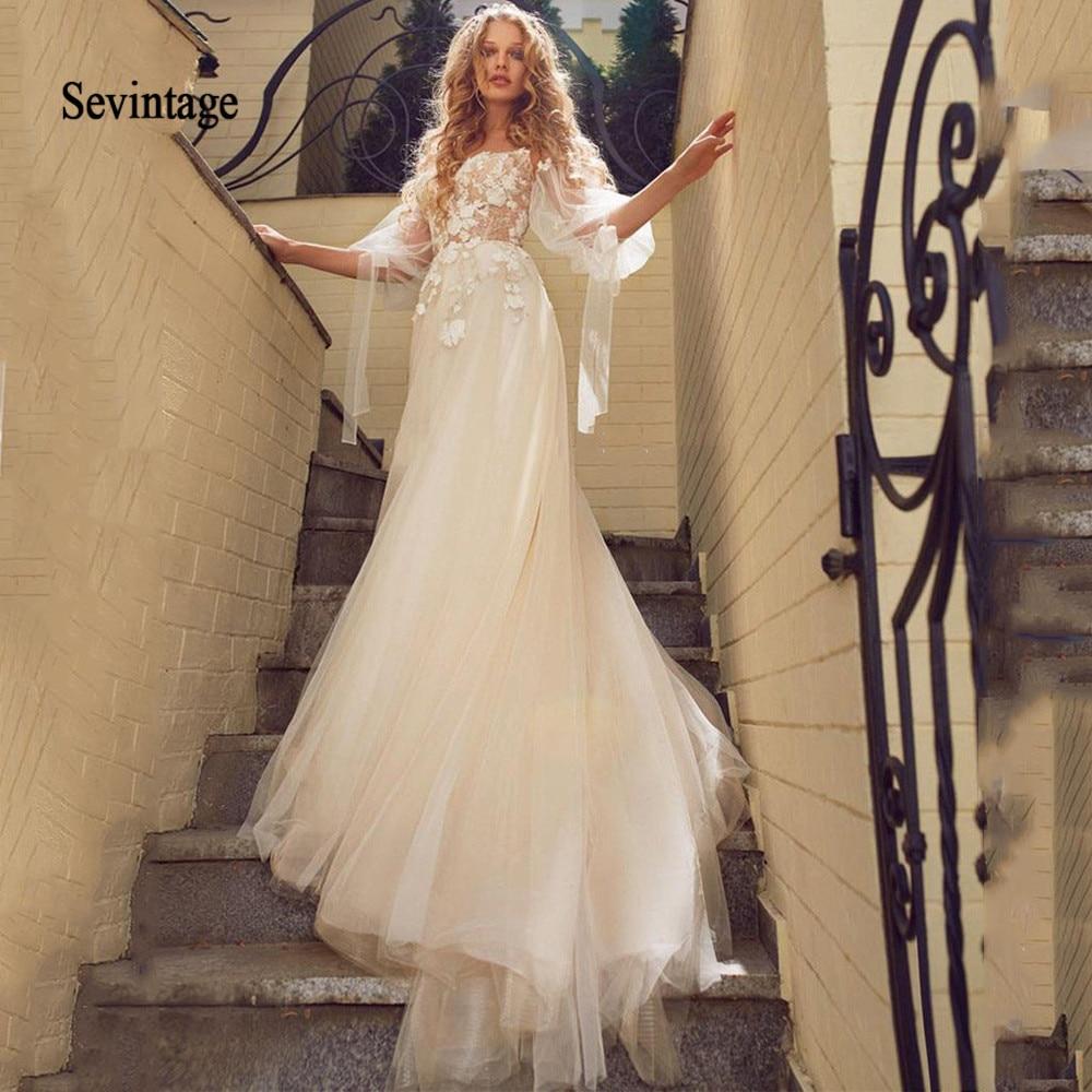 Sevintage Half Puff Sleeve Wedding Dress Boho 3D Flowers Tulle Lace Bridal Dresses Off The Shoulder Bride Gowns Abiti Da Sposa
