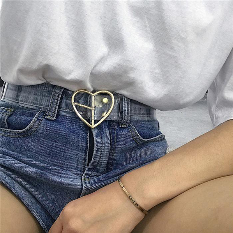 Ladies Resin Belt Cute Transparent Belt Jeans Dress Belt Luxury Brand Design Pin Buckle Harajuku Ms. Round PVC Transparent Belt
