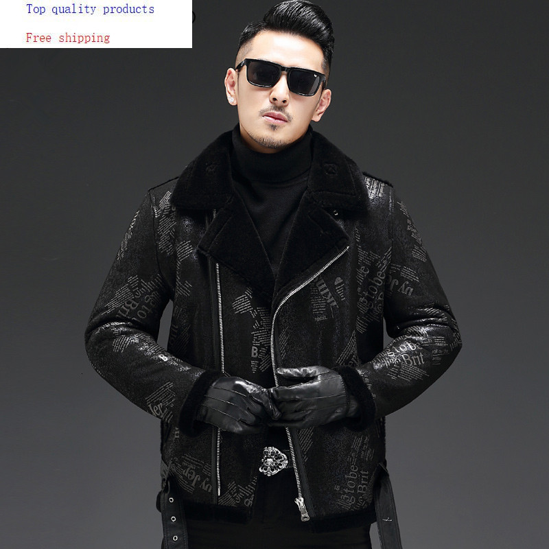 2020 New Genuine Leather Jacket Men Winter Sheep Shearling Jacket Warm Leather Coat Real Wool Fur Lining 19-3701 KJ3287