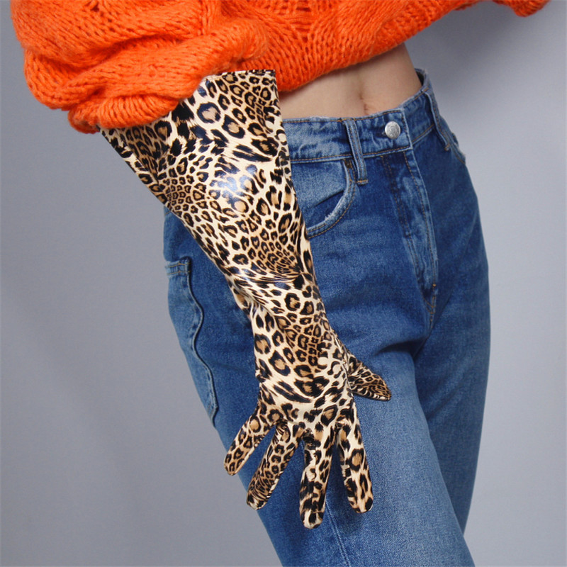 Patent Leather Long Gloves 38cm Big Sleeve Wide Cuff Lantern Sleeve Puff Sleeve Imitation Leather Male Female Leopard WPU141