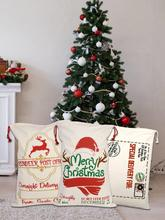 1PC 27*19in Christmas Bag Santa Sack Canvas Reusable Candy Storage Pouch New Year Gift For Children