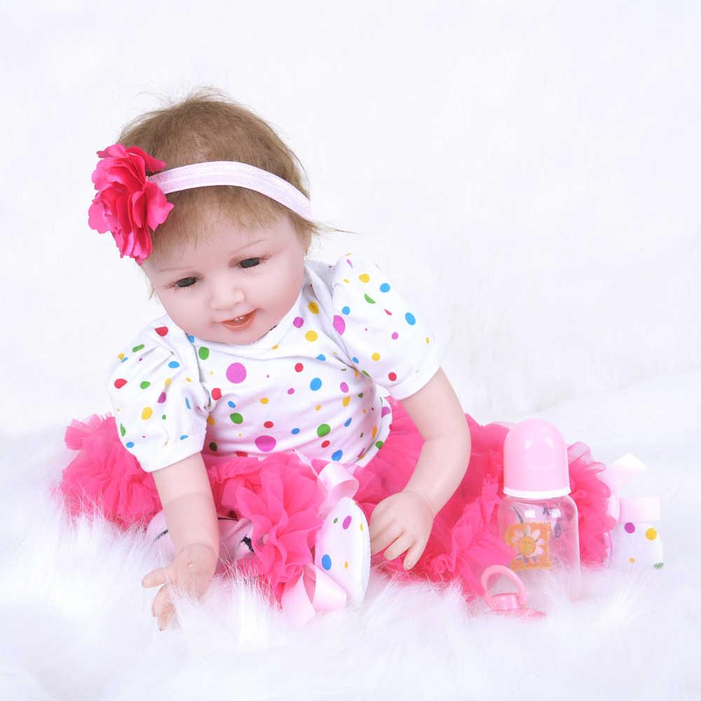 22 handmade handmade feito à mão bebe reborn boneca do bebê macio silicone pano corpo recém-nascido bonecas vivas adorável crianças aniversário presente de natal 55 cm