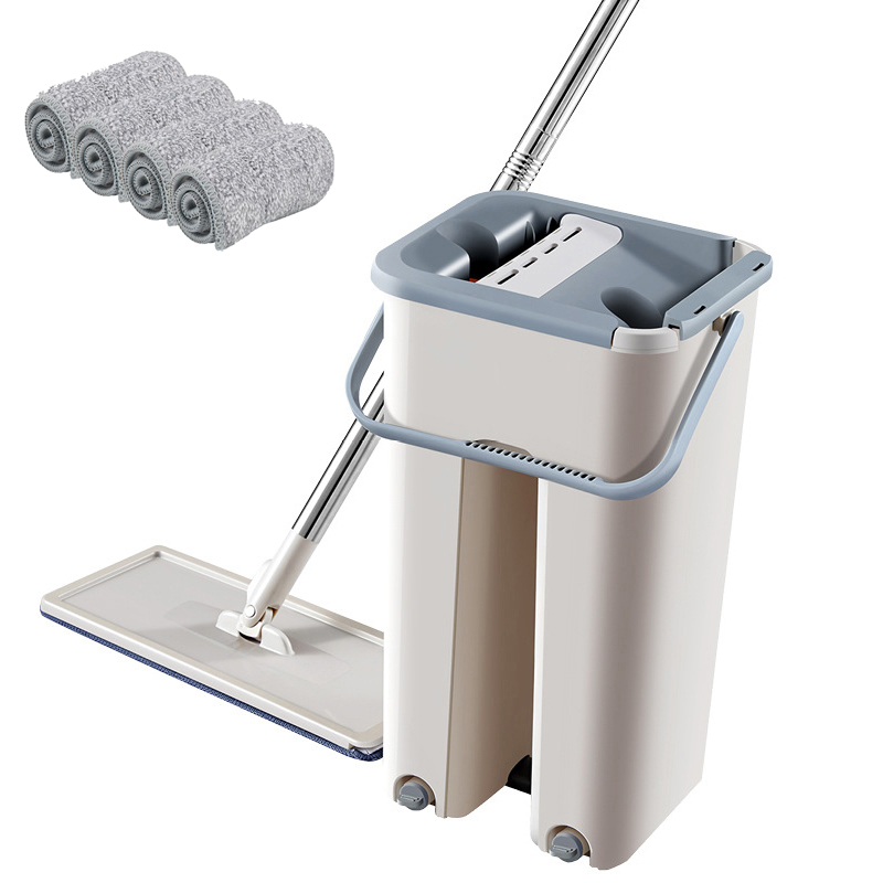 Mop Cloth with Bucket Bucket Hand Free Wringing Mop Self Wet And Cleaning System Dry Cleaning Microfiber Mop Floor-0