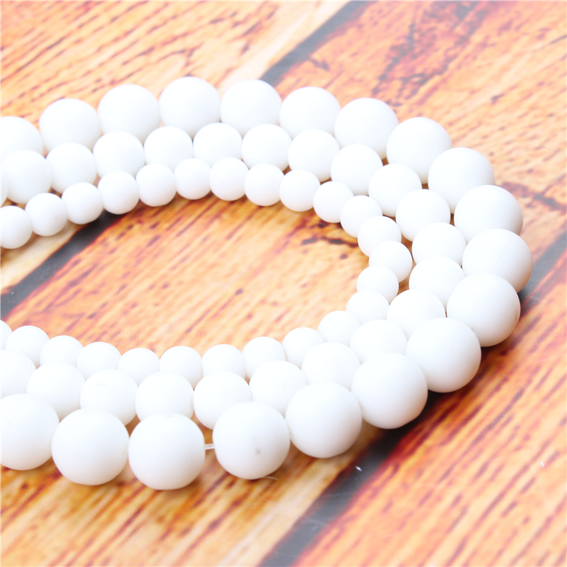 Frosted Natural Stone Bead Round Loose Spaced Beads 15 Inch Strand 4/6/8/10/12mm For Jewelry Making DIY Bracelet